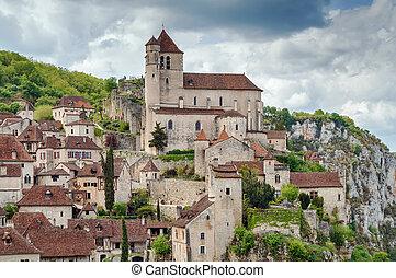 View of Saint-Cirq-Lapopie, France