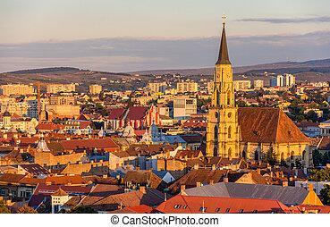 View of Saint Michael's Church in Cluj-Napoca, Romania