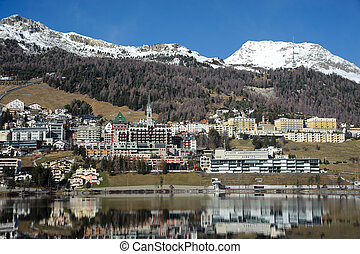 Saint Moritz - view of Saint Moritz, in the Swiss Alps,