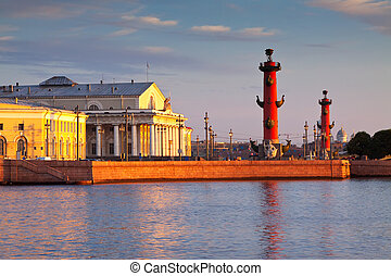 Spit of Vasilievsky Island in summer morning - View of Saint...