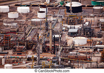 View of Salt Lake city oil refineries during day