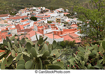 View of San Bartolome de Tirajana from above. Gran Canaria.