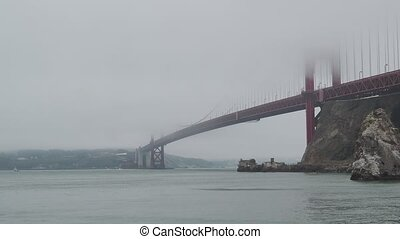 View of San Francisco Bay, Golden Gate Bridge, and Fort...