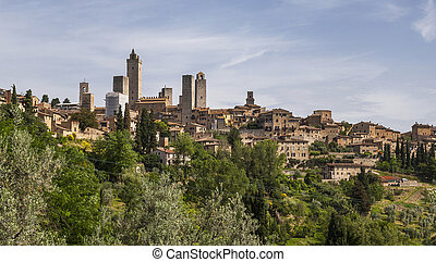 View of San Gimignano towers, Italy