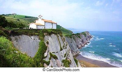 Zumaia coast, Pais Vasco Spain - view of San Telmo chapel...