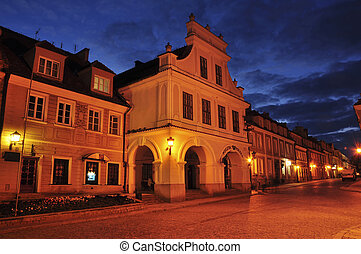 View of sandomierz in the night