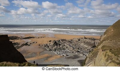 View of Sandymouth beach Cornwall - Sandymouth beach North...