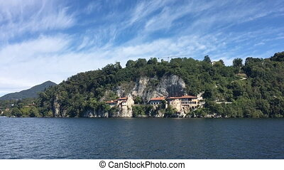 View of Santa Caterina from the water. Lago Maggiore. Italy.