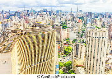 View of Sao Paulo and the famous Copan building. Designed by...