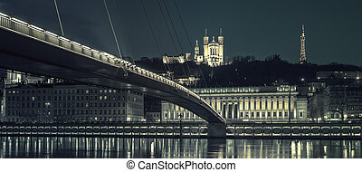 Lyon by night, special photographic processing - View of...