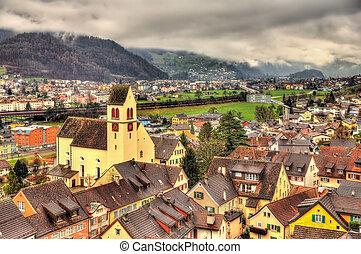 View of Sargans village in Swiss Alps
