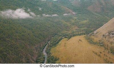 View of Sarma valley view Baikal lake Siberia from air drone