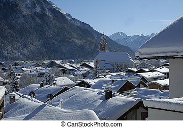 View of scenic winter landscape in the Bavarian Alps