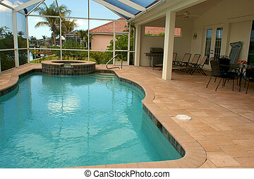 view of screened in swimming pool - wide angle view of...