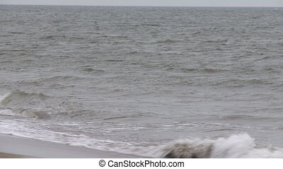 View of sea and waves in cloudy weather, wide angle shooting