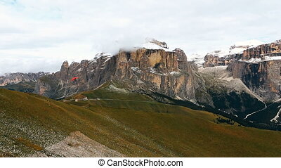 view of Sella group mountains from Col Rodella Dolomites...