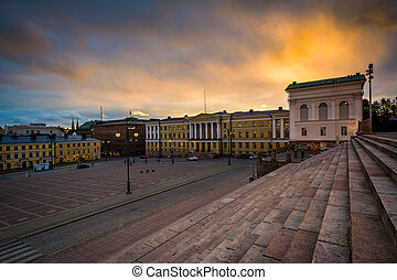 View of Senaatintori, Senate Square at sunset, in Helsinki, Finland.