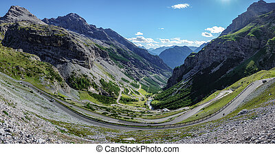 View of serpentine road of Stelvio Pass, Bormio side - Top ...