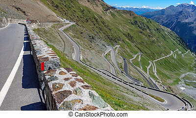 View of serpentine road of Stelvio Pass from above. - Top ...