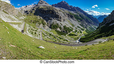 View of serpentine road of Stelvio Pass from Bormio - Top ...
