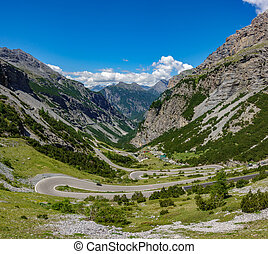 View of serpentine road, Stelvio Pass from Bormio - Top view...