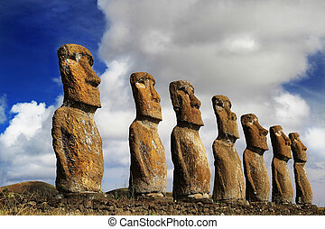 View of seven Ahu Akivi Moai, which are the only Moai to...