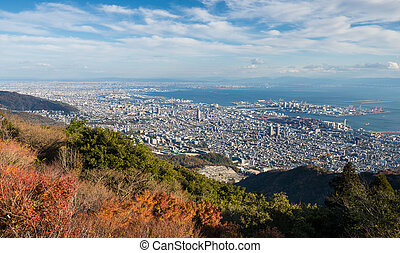 "View of several Japanese cities in the Kansai region from Mt. Maya. The view is designated a ""Ten Million Dollar Night View."""