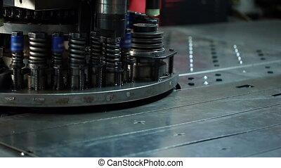 View of sheet metal stamping, close-up