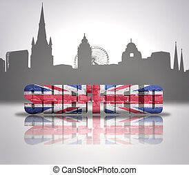 View of Sheffield - Word Sheffield with national flag of...