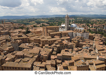 View of Siena cityscape from the top of a tower