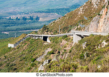 View of Sir Lowreys Pass near Somerset West, South Africa