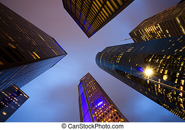 View of Skyscrapers Low Angle in Houston