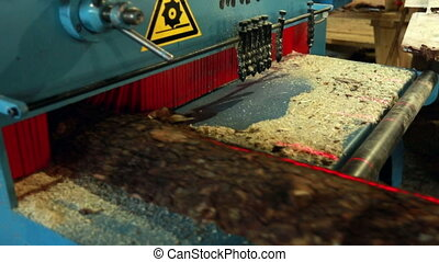 View of slab moving on conveyor belt to machine