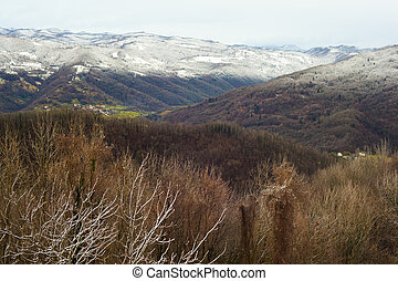 Slovenian mountains covered by snow