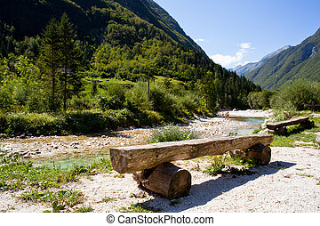 Soca river - View of Slovenian Soca river in the summer