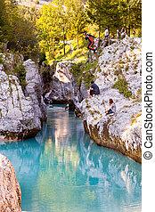 Soca river - View of Slovenian Soca river in the summer