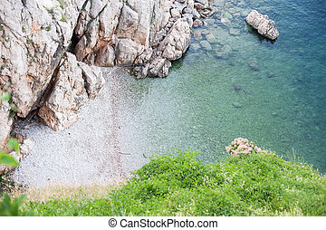 View of small bay with crystal clear water