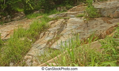 View of Small Mountain River among Rocks in Tropics