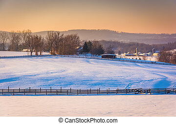 View of snow-covered farm fields and the Pigeon Hills near Spring Grove, Pennsylvania.