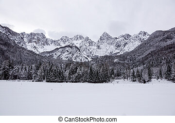 view of snowy mountain peak in a winter days