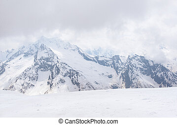 view of snowy mountains in winter, Caucasus, winter mountain landscape, Russia