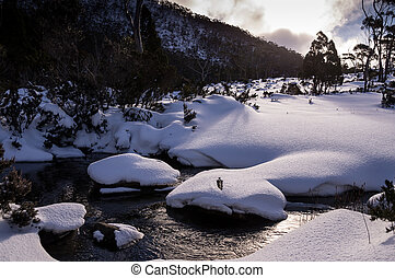 View of snowy Mt. Field National Park in winter in Tasmania, Australia