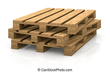 pallet - view of some wooden pallets (3d render)