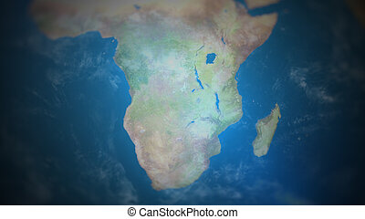View of Southern Africa on a world map