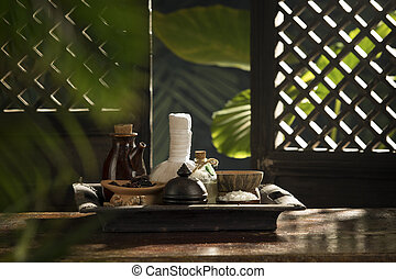 view of spa theme objects on color tropic authentic back