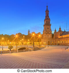 View of Spain Square on sunset, landmark in Renaissance Revival style, Seville, Spain