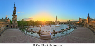 View of Spain Square (Plaza de Espana) on sunset, landmark in Renaissance Revival style, Seville, Spain