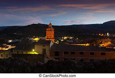 view of spanish town in twilight. Utrillas
