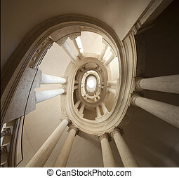 view of spiral staircase , The famous helicoidal staircase...