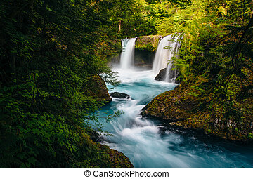 View of Spirit Falls on the Little White Salmon River in the Columbia River Gorge, Washington